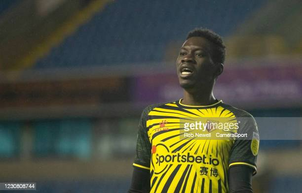Watford's Ismaila Sarr after a near miss in the first half during the Sky Bet Championship match between Millwall and Watford at The Den on January...