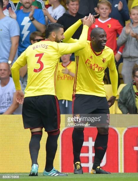 Watford's Italian striker Stefano Okaka celebrates scoring the opening goal during the English Premier League football match between Watford and...