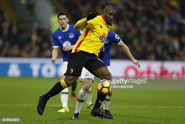 Watford's Italian striker Stefano Okaka runs with the ball during the English Premier League football match between Watford and Everton at Vicarage...