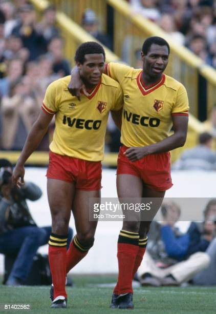 Watford's John Barnes and Luther Blissett during their 1st Divison match against Aston Villa at Vicarage Road 15th September 1984 The match ended in...