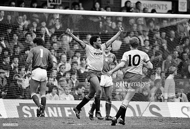 Watford's John Barnes celebrates afer scoring the third goal against Birmingham City during their FA Cup 6th round match held at St Andrews...