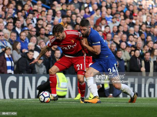 Watford's Kiko Femenia and Chelsea's Gary Cahill during the Premier League match between Chelsea and Watford at Stamford Bridge on October 21 2017 in...