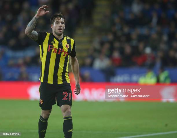 Watford's Kiko Femenia during the Premier League match between Leicester City and Watford FC at The King Power Stadium on December 1 2018 in...