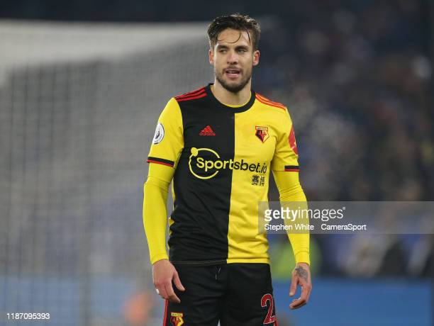 Watford's Kiko Femenia during the Premier League match between Leicester City and Watford FC at The King Power Stadium on December 4, 2019 in...