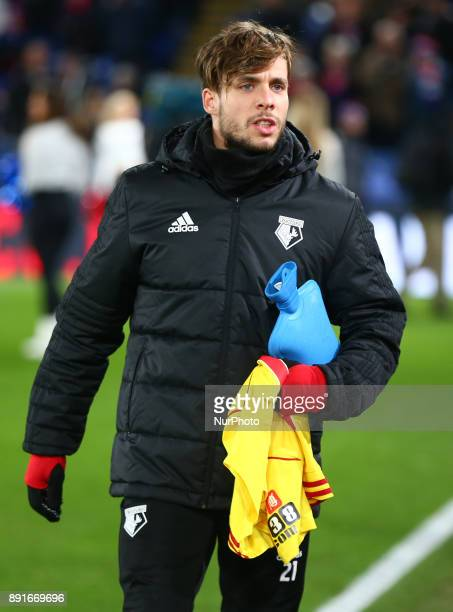 Watford's Kiko Femenia hot water bottle during Premier League match between Crystal Palace and Watford at Selhurst Park Stadium London England 12 Dec...