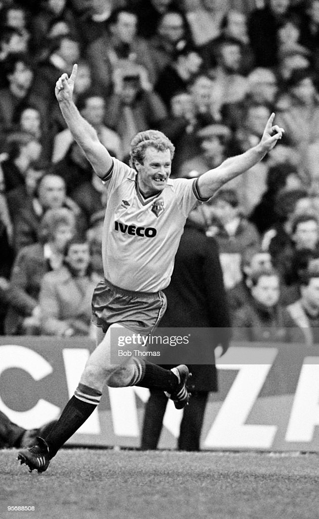 Watford's Les Taylor celebrates after scoring the second goal against Birmingham City during their FA Cup 6th round match held at St Andrews, Birmingham on 10th March 1984. Watford won 3-1. (Bob Thomas/Getty Images).