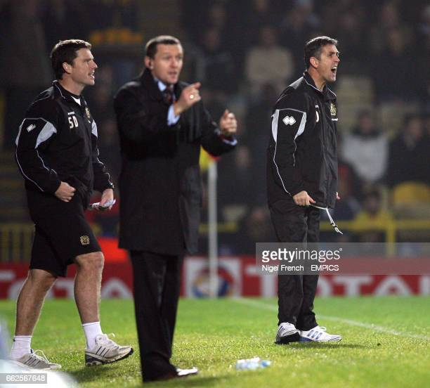 Watford's Manager Aidy Boothroyd with Burnley's Manager Owen Coyle on the touch line
