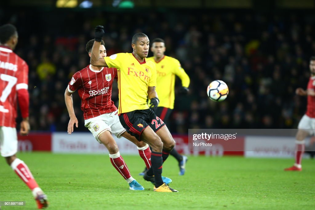 Watford's Marvin Zeegelaar during FA Cup 3rd Round match between Watford and Bristol City at Vicarage Road Stadium, Watford , England 06 Jan 2018.