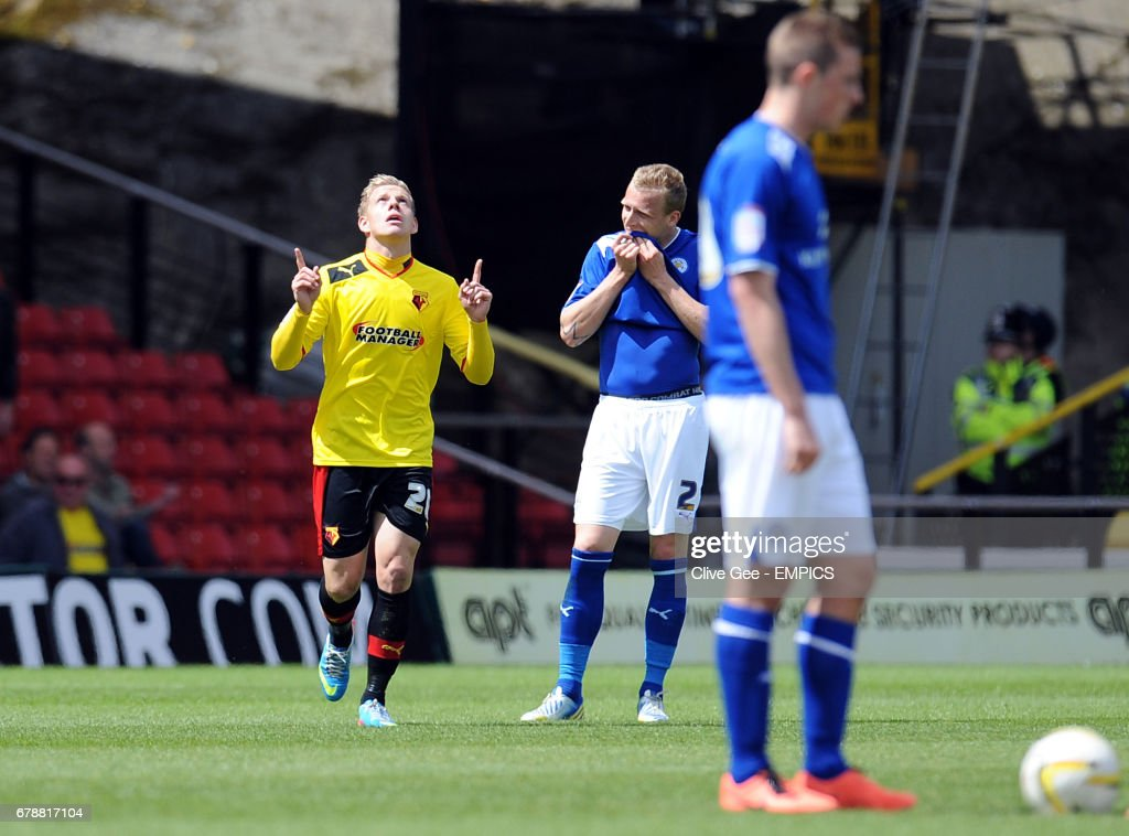 Watford's Matej Vydra Celebrates After Scoring His Sides