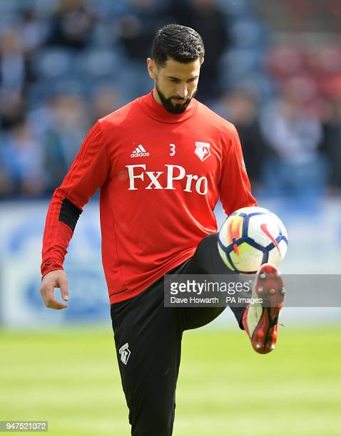 Watford's Miguel Britos warms up ahead of the match