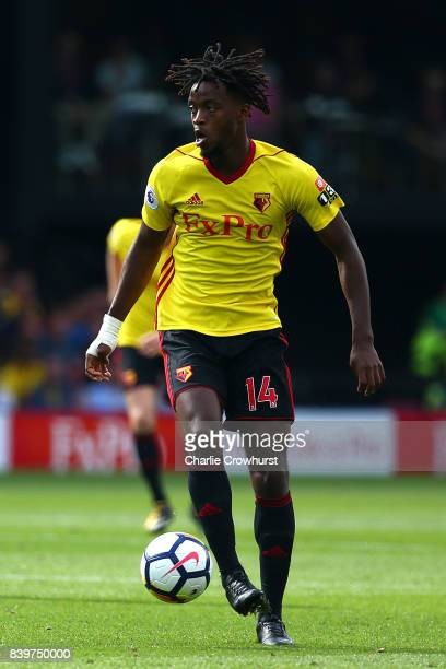 Watford's Nathaniel Chalobah during the Premier League match between Watford and Brighton and Hove Albion at Vicarage Road on August 26 2017 in...