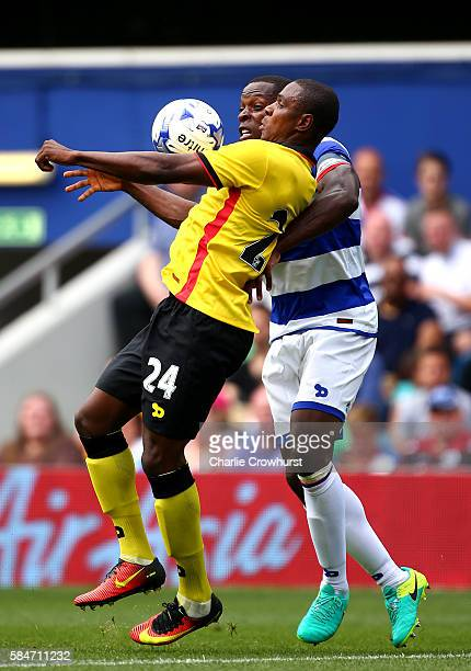Watford's Odion Ighalo battles for the ball with QPR's Nedum Onuoha during the PreSeason friendly match between Queens Park Rangers and Watford at...