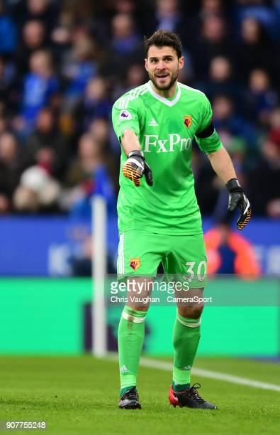 Watford's Orestis Karnezis during the Premier League match between Leicester City and Watford at The King Power Stadium on January 20 2018 in...