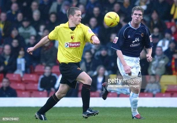 Watford's Paul Devlin in action against Wolverhampton Wanderers' Keith Andrews during the CocaCola Championship match at Vicarage Road Watford...