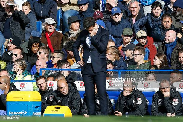 Watford's Portuguese head coach Marco Silva reacts during the English Premier League football match between Chelsea and Watford at Stamford Bridge in...