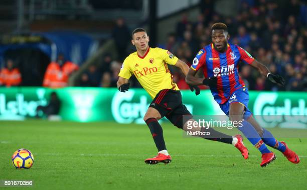 LR Watford's Richarlison and Crystal Palace's Timothy FosuMensah during Premier League match between Crystal Palace and Watford at Selhurst Park...