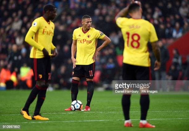 Watford's Richarlison and his teammates appear dejected after conceding the opening goal during the Emirates FA Cup fourth round match at St Mary's...