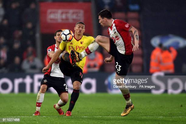 Watford's Richarlison and Southampton's PierreEmile Hojbjerg battle for the ball during the Emirates FA Cup fourth round match at St Mary's Stadium...