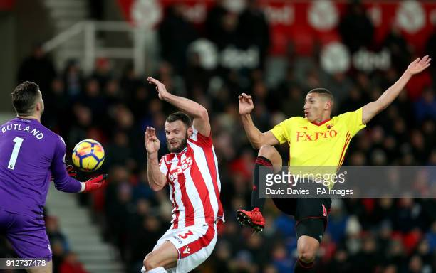 Watford's Richarlison attempts a shot at goal during the Premier League match at the bet365 Stadium Stoke