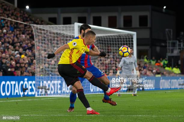 Watford's Richarlison has a shot at goal during the Premier League match between Crystal Palace and Watford at Selhurst Park on December 12 2017 in...