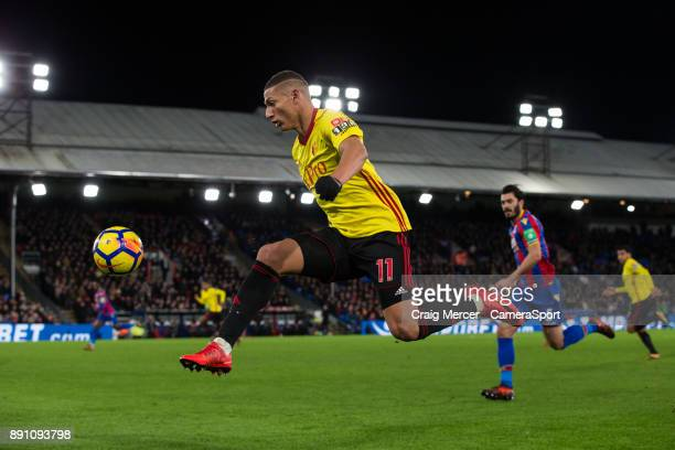 Watford's Richarlison in action during the Premier League match between Crystal Palace and Watford at Selhurst Park on December 12 2017 in London...