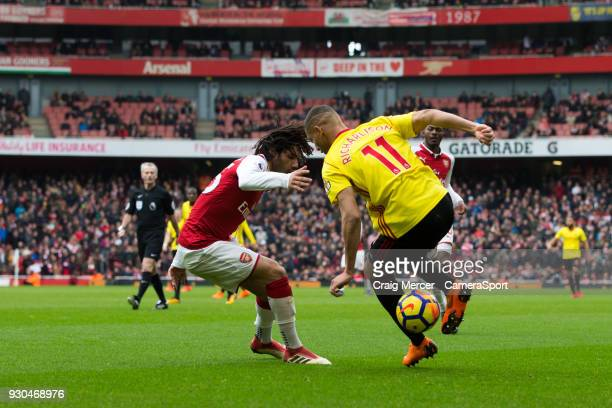 Watford's Richarlison in action during the Premier League match between Arsenal and Watford at Emirates Stadium on March 11 2018 in London England