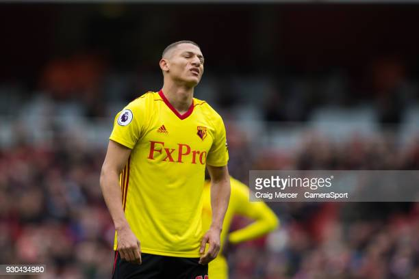 Watford's Richarlison reacts to a missed chance during the Premier League match between Arsenal and Watford at Emirates Stadium on March 11 2018 in...
