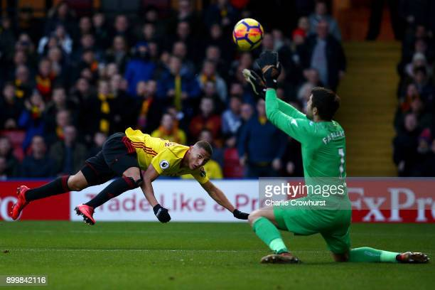 Watford's Richarlison see's his shot saved by Swansea keeper Lukaz Fabianski during the Premier League match between Watford and Swansea City at...
