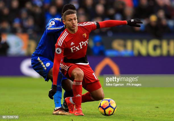 Watford's Richarlison under pressure from Leicester City's Daniel Amartey during the Premier League match at the King Power Stadium Leicester