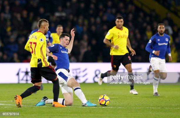 Watford's Roberto Pereyra and Everton's Michael Keane battle for the ball during the Premier League match at Vicarage Road London