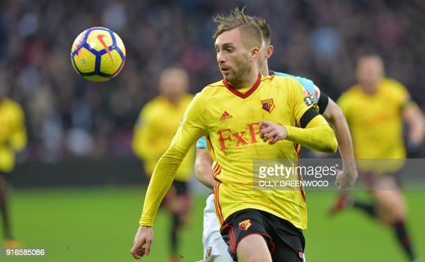 Watford's Spanish midfielder Gerard Deulofeu controls the ball during the English Premier League football match between West Ham United and Watford...