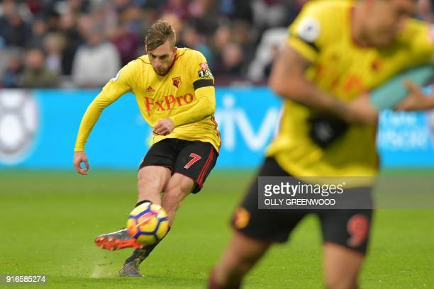 Watford's Spanish midfielder Gerard Deulofeu takes a freekick during the English Premier League football match between West Ham United and Watford at...