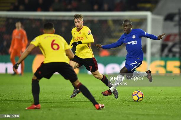 Watford's Spanish midfielder Gerard Deulofeu vies with Chelsea's French midfielder N'Golo Kante during the English Premier League football match...
