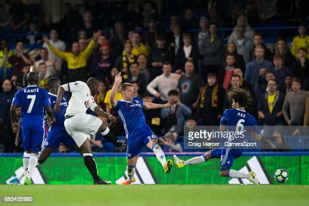 Watford's Stefano Okaka Chuka scores his sides equalising goal to make the score 33 during the Premier League match between Chelsea and Watford at...