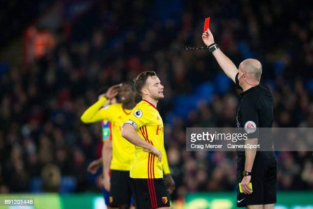 Watford's Tom Cleverley reacts after receiving a red card from Referee Lee Mason during the Premier League match between Crystal Palace and Watford...