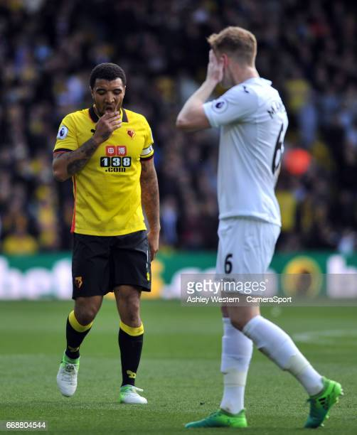 Watford's Troy Deeney frustrated during the Premier League match between Watford and Swansea City at Vicarage Road on April 15 2017 in Watford England