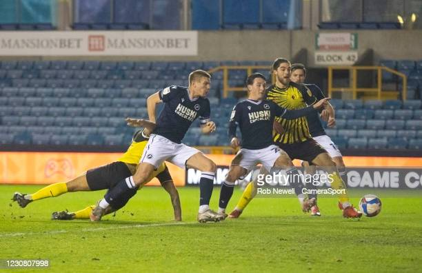 Watford's Troy Deeney goes close in the first half during the Sky Bet Championship match between Millwall and Watford at The Den on January 26, 2021...