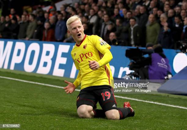 Watford's Will Hughes celebrates scoring his side's first goal of the game during the Premier League match at Vicarage Road Watford