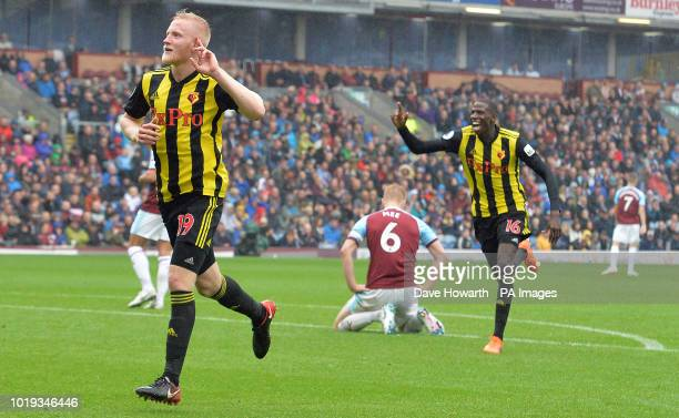 Watford's Will Hughes celebrates scoring his side's third goal of the game during the Premier League match at Turf Moor Burnley
