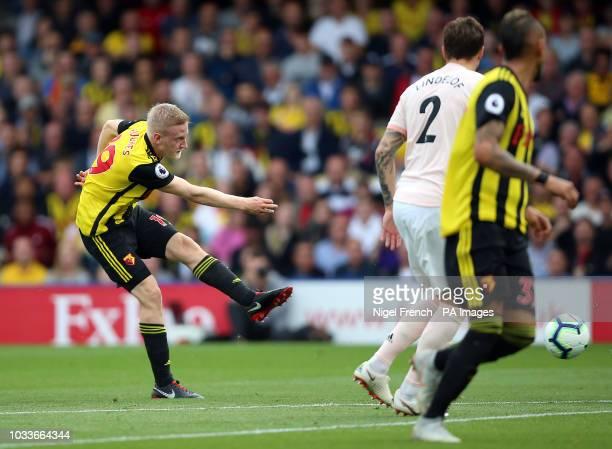 Watford's Will Hughes shots towards goal during the Premier League match at Vicarage Road Watford