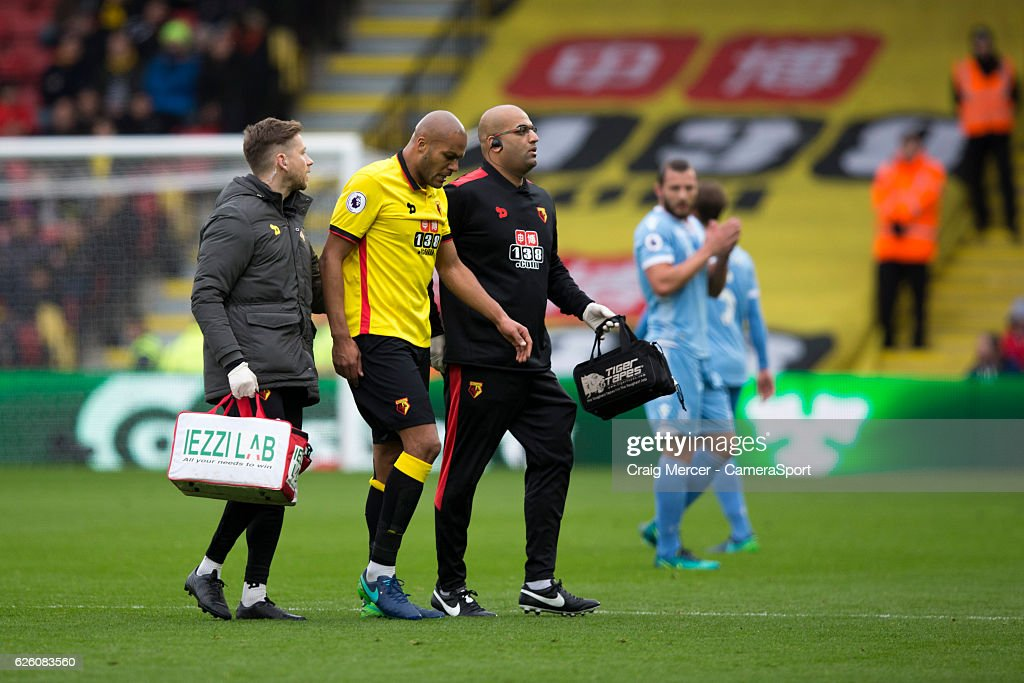 Watford's Younes Kaboul forced off the field with an injury during the Premier League match between Watford and Stoke City at Vicarage Road on November 27, 2016 in Watford, England.