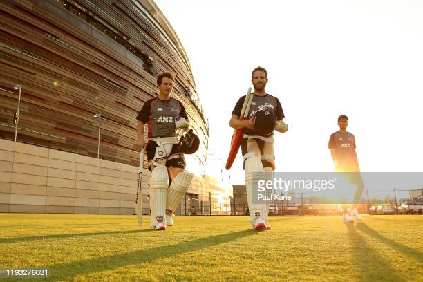 Watling and Kane Williamson walk to the nets during a New Zealand Test team training session at Optus Stadium on December 11, 2019 in Perth,...