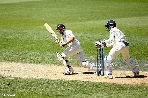 Watling of New Zealand bats during day three of the First Test match between New Zealand and India at Eden Park on February 8 2014 in Auckland New...