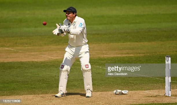 Watling of New Zealand catches the ball during the Reserve Day of the ICC World Test Championship Final between India and New Zealand at The...