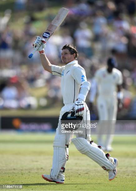 Watling of New Zealand celebrates his century during day three of the first Test match between New Zealand and England at Bay Oval on November 23,...
