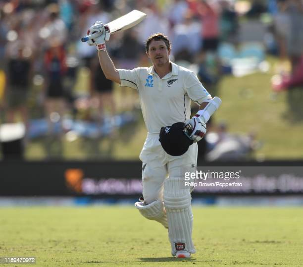 Watling of New Zealand celebrates reaching his century during day three of the first Test match between New Zealand and England at Bay Oval on...