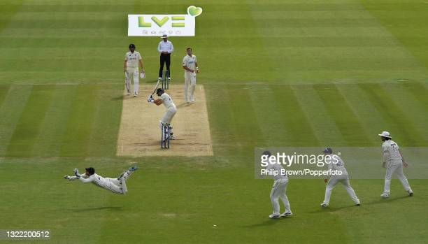 Watling of New Zealand dives to take a ball bowled by Tim Southee during Day 5 of the First LV= Insurance Test match between England and New Zealand...