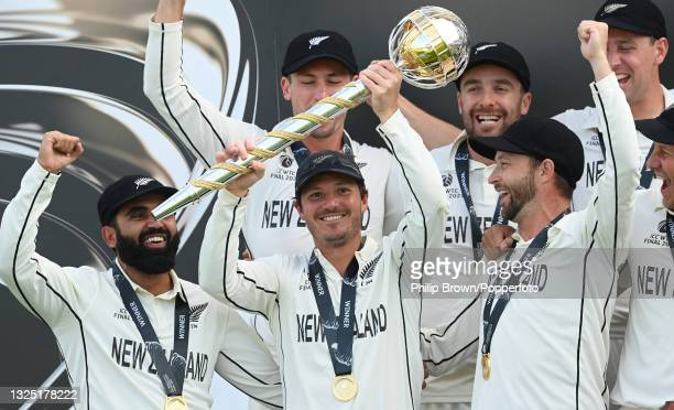 Watling of New Zealand holds the Test mace aloft with team mates Ajaz Patel , Devon Conway and Neil Wagner after New Zealand won the ICC World Test...