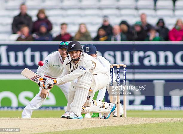Watling of New Zealand plays a reverse sweep during day three of the 2nd Investec Test match between England and New Zealand at Headingley Cricket...