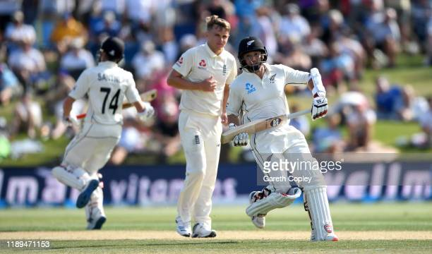 Watling of New Zealand scores runs from the bowling of Sam Curran of England during day three of the first Test match between New Zealand and England...